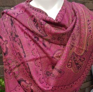 Pink Printed and Bordered Pashmina Scarf